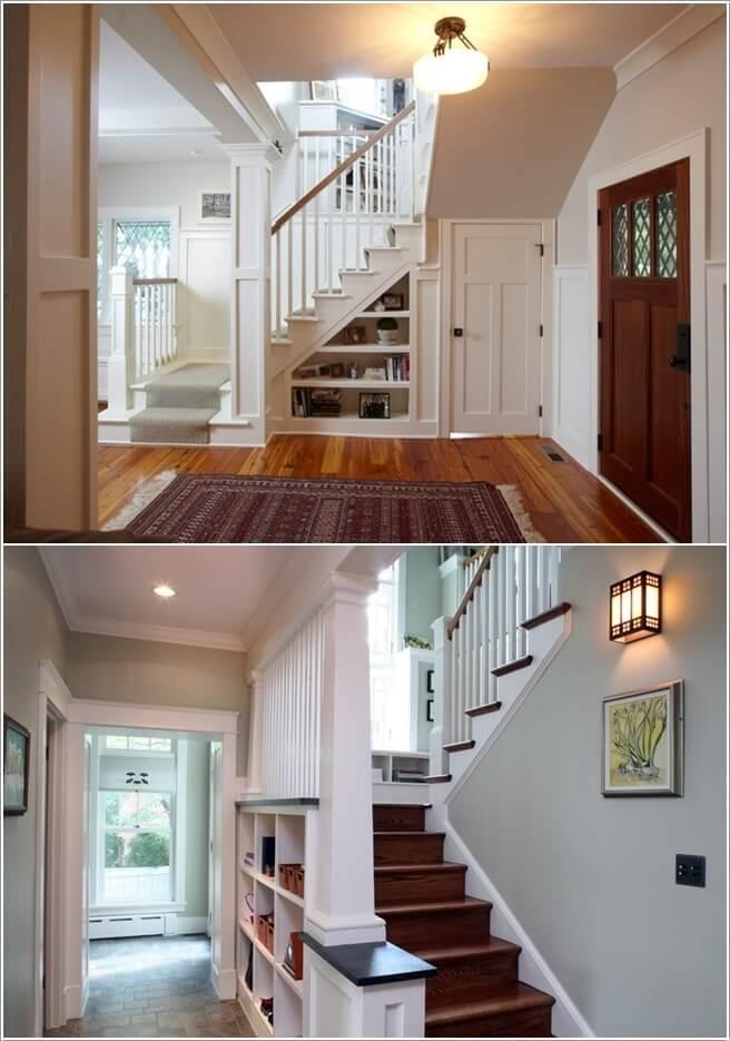 Gầm cầu thang được biết tới là vị trí lý tưởng để đặt vào đấy những chiếc kệ lưu trữ
